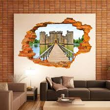 3d break cracked wall view the bridge to the old castle wall art mural poster ancient castle on the water wall decal sticker in wall stickers from home  on castle wall art mural with 3d break cracked wall view the bridge to the old castle wall art