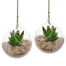 com set of 2 decorative clear glass globe hanging air plant terrarium planter candle holder mygift home kitchen