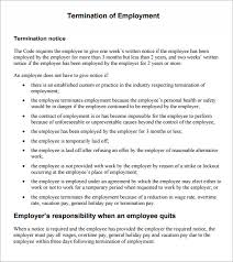 Employment Termination Letter Templates Sample Termination Notice 6 Documents In Pdf Word