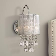 possini euro design modern wall light chrome 12 crystal dangle sconce for bathroom bedroom hallway com