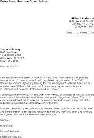 Entry Level Cover Letter Cover Letter Examples For Entry Level ...