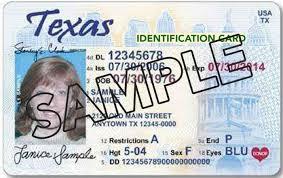 Identification Card Texas My Photo English Daily