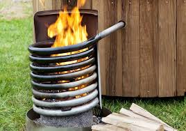 how an external wood fired hot tub works