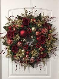Christmas Wreath, Winter Wreath, Elegant Christmas, Holiday Wreath,  Evergreen Wreath, Red