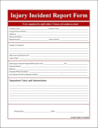 Injury Report Form Accident Injury Report Form Template It Incident