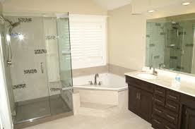 furniture black wooden bathroom vanity connected by glass shower stalls and cream wall entrancing