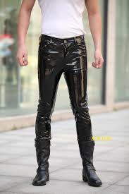 detail feedback questions about hot brand fashion men leather pants luxury designer man y pant long skinny leather shiny patent leather party bar