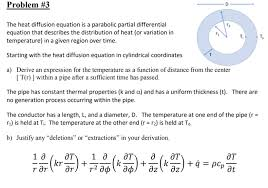 the heat diffusion equation is a parabolic partial diffeial equation that describes the distribution of heat