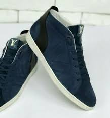 Details About Louis Vuitton Sneakers Blue Navy Suede Size 8 1 2 Lv 9 1 2 Us 42 5 Eur