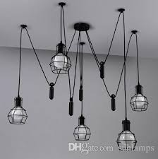 pulley pendant lighting. Novelty Spider Lamp Kitchen Adjustable Pulley Pendant Black Rustic Iron Lights Dining Room Bar Retro Industrial Lighting Modern Ceiling