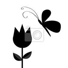 Fototapeta Tulipán Květina S Listy A Létající Motýl Hmyz černá Silueta Forma