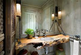 reclaimed lighting fixtures. Reclaimed Log Wood Top For Floating Sink With Wall Mirror Ornament And Antique Light Fixtures In Rustic Guest Bathroom Lighting N
