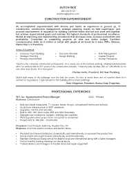sample resume for residential construction superintendent  resume