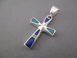 inlay cross pendant with turquoise lapis gaspeite by navajo jewelry artist tim