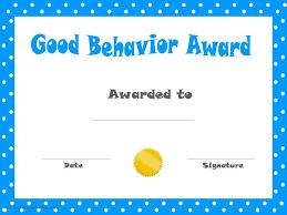 Good Behaviour Certificates Templates Printable Kids Award