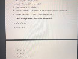 write an equation for the conic section