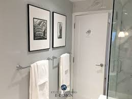 bathroom with porcelain look marble tile paint color similar to benjamin moore stonington gray
