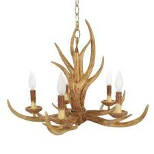 5 light natural antler hanging chandelier