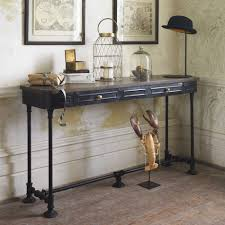 full size of decoration wood and metal console table with drawers console table wood metal hall