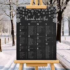 Winter Wedding Seating Chart Snowflakes Minimalist Wedding