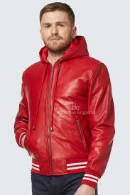 new baseball men s red hood slim fit stylish hip hop italian leather jacket 4486
