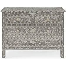 Kathy Kuo Home Aiden Global Bazaar Grey And Cream Bone Inlay 4 Drawer  Dresser Bone Inlay Dresser N48