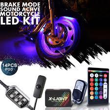 X LIGHT Motorrad LED Leuchten Beleuchtung Kit Alle Farben Körper  Unterbodenlicht Neon 14 Pods Mit