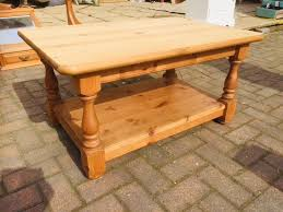 reduced solid pine heavy duty coffee table with wrack underneath shabby chic