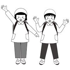 かわいい遠足 白黒モノクロ無料 子供 イラスト 商用フリー無料