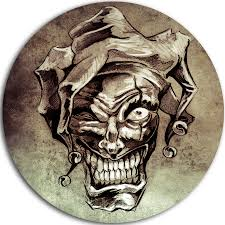Fantasy Clown Joker Tattoo Sketch Graphic Art Print On Metal