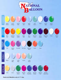 Balloon Color Chart National Balloon Color Chart
