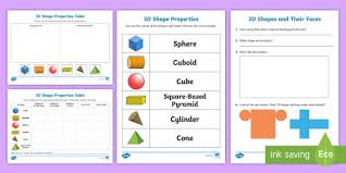 Free Properties Of 3d Shapes Ks1 Resource