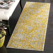 modern abstract light grey yellow runner rug uk