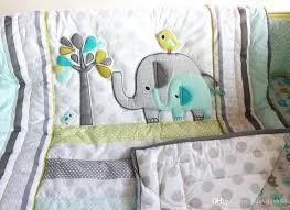 elephant nursery bedding sets baby bedding set comfortable embroidery elephant bird baby crib bedding set include