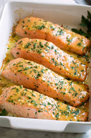 How to cook bacon wrapped fillet. Baked Salmon With Buttery Honey Mustard Sauce Cooking Classy