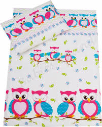 duvet cover pillowcase curtains baby toddler junior pink owls
