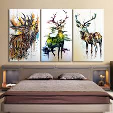 bedroom wall art canvas. Unique Bedroom Printed 3 Piece Elk Graffiti Deer Canvas Paintings Living Room Wall Art  Inside Bedroom O