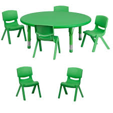ff round 45 activity table 6 chairs 10 5 green