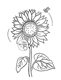Small Picture Cute sunflower and bee coloring page for kids flower coloring
