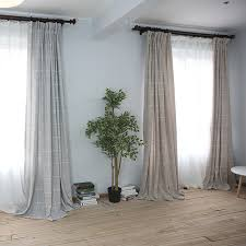 america style plaid blackout linen curtain for bedroom living room custom made window curtain