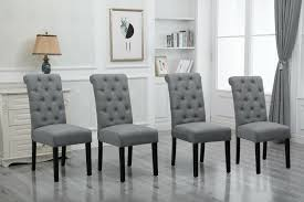 Light Gray Settee 4x Grey Dining Chairs High Back Fabric Upholstered Button Tufted Dining Room New