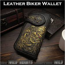 men s wallet biker wallet dragon hand carved leather genuine cowhide handcrafted custom handmade wild hearts leather silver id lw3064