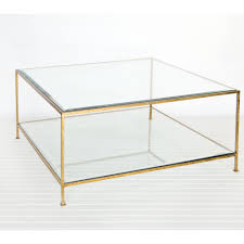 ... Minimalist Modern Glass And Gold Coffee Table Decorative Unbelievable  Squared Shaped Transparant ...