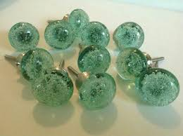 Mint Green Sea Glass Bubble Cabinet Knobs Drawer Pulls Lot of 10