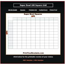 Printable Square Football Pool Sheet Super Bowl Board Template 100 ...