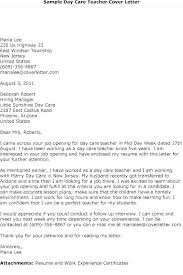 Child Care Cover Letter For Resume