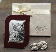 2107 made in italy silver angel and baby large icon rectangular wood frame br font color