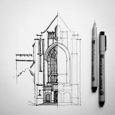 open door pencil drawing. Half #sketch #drawing #architecture | By Dan Hogman Open Door Pencil Drawing