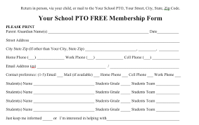 Club Membership Form Template Free Pto Membership Form To Send Out To Parents From The Pto Today
