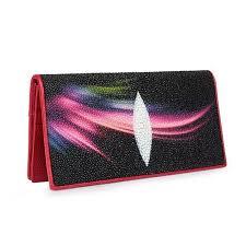 fancy designer genuine stingray leather women s thin clutch purse lady card holder exotic skate skin female long bifold wallet